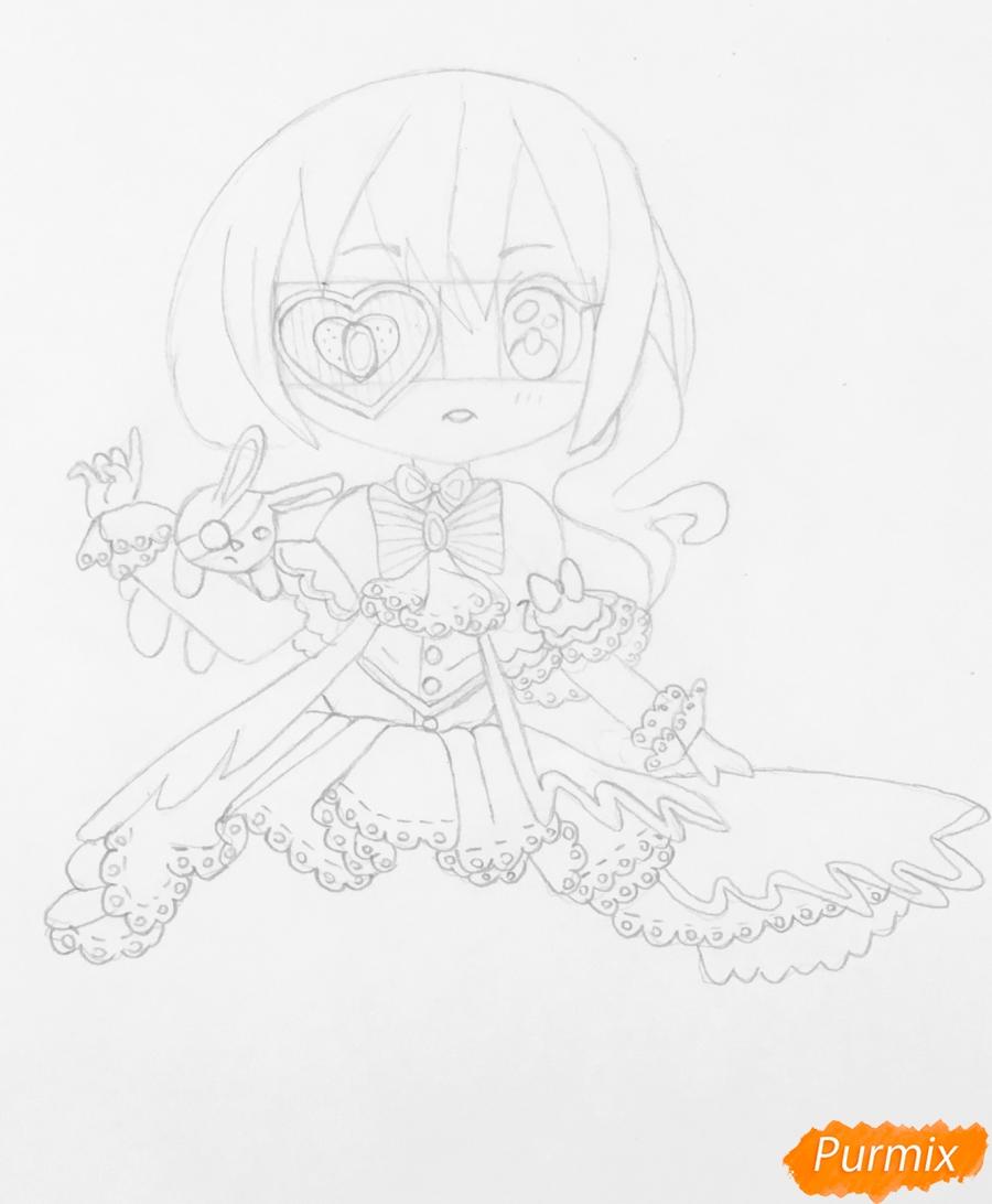 Чиби девочка в образе валентинки с игрушечным кроликом - шаг 5