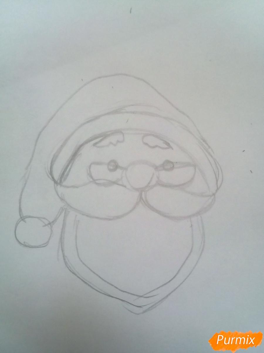 Голова милого Дедушки Мороза в очках - шаг 3