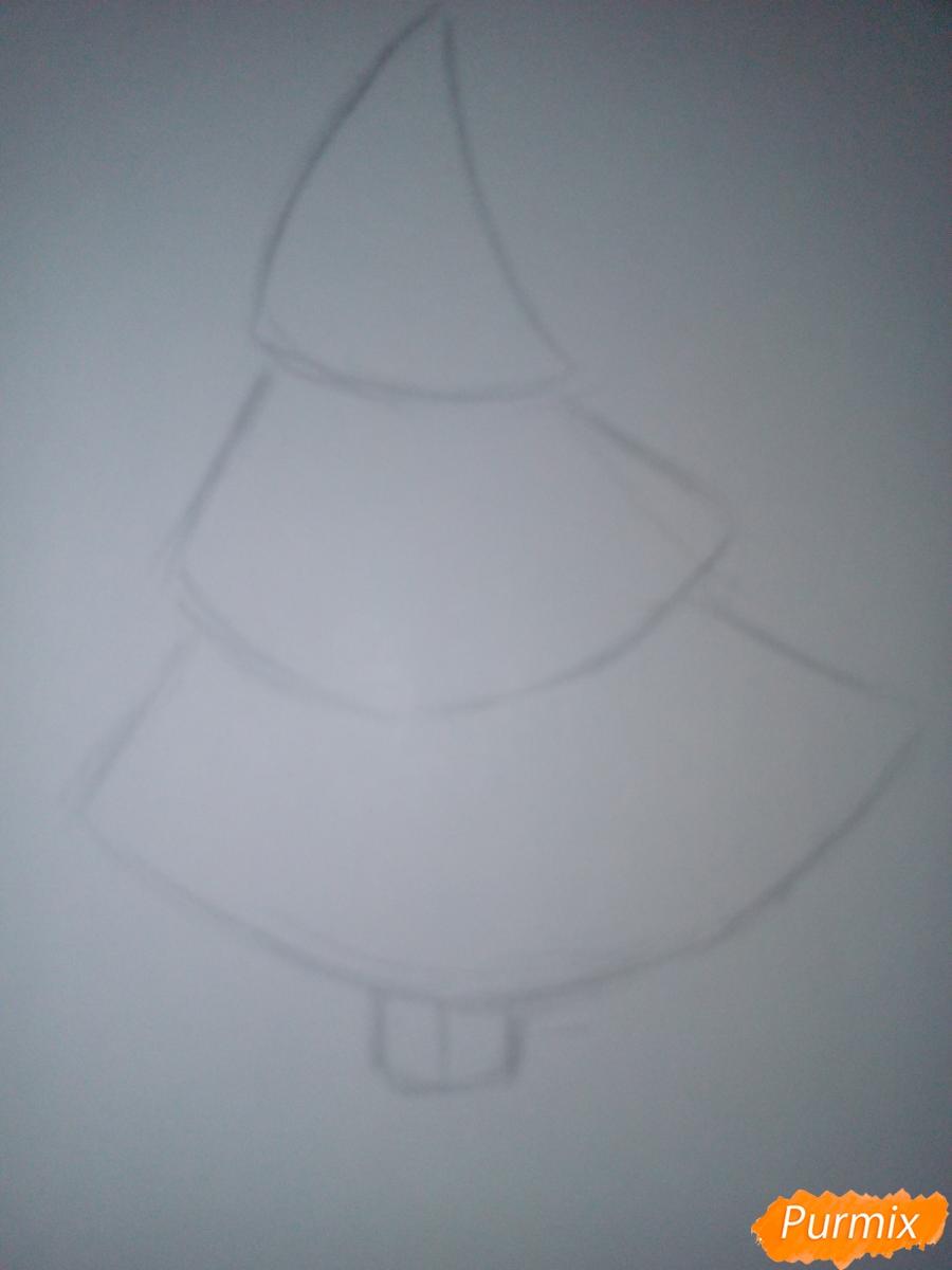 Как легко нарисовать елку зимой - шаг 1