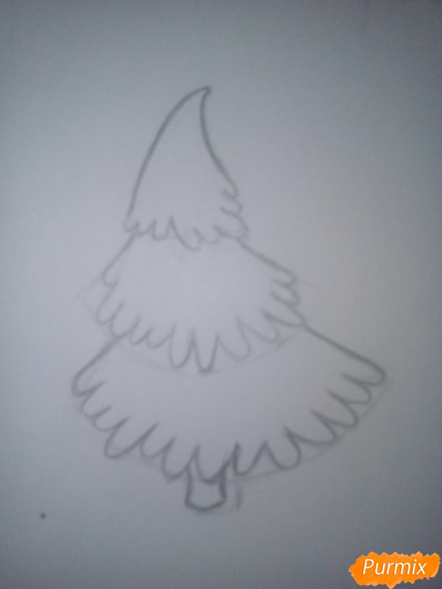 Как легко нарисовать елку зимой - шаг 2