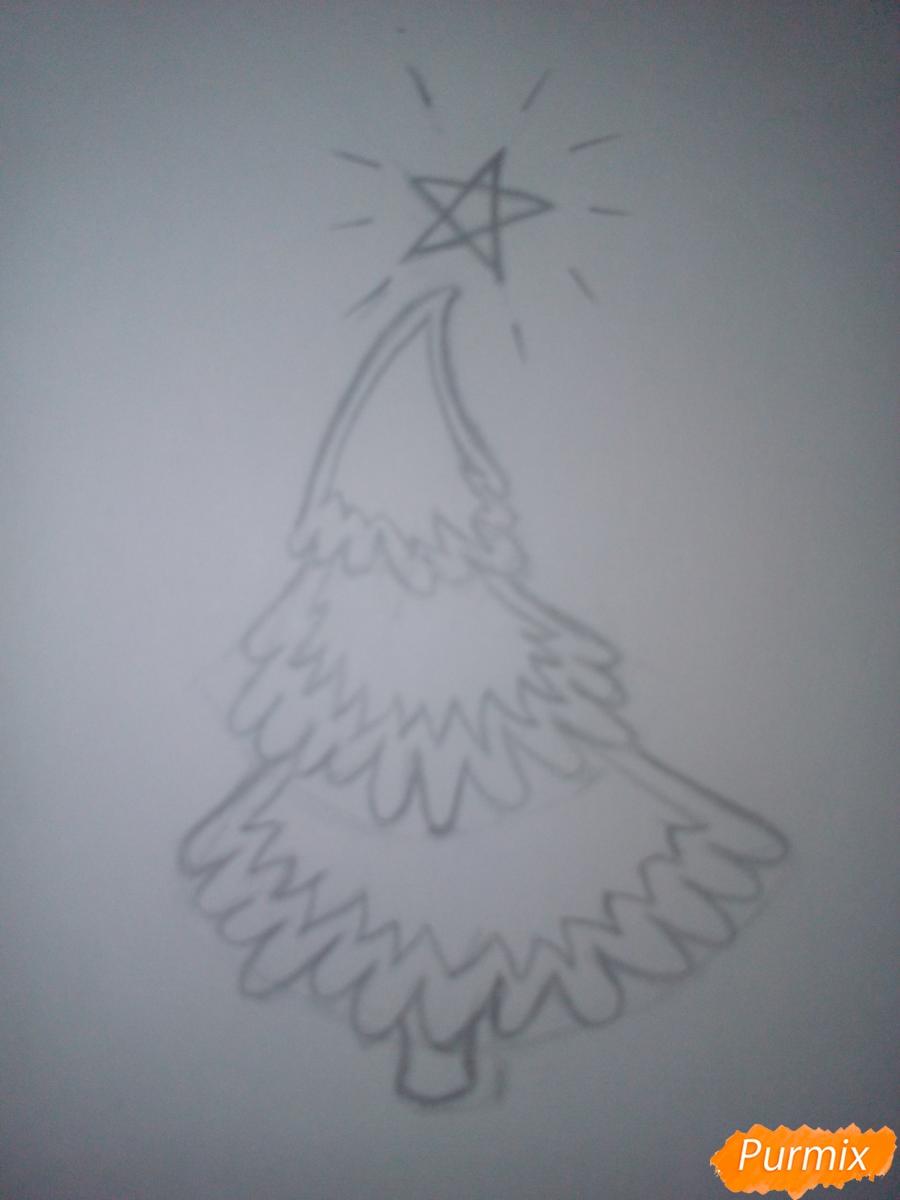 Как легко нарисовать елку зимой - шаг 3