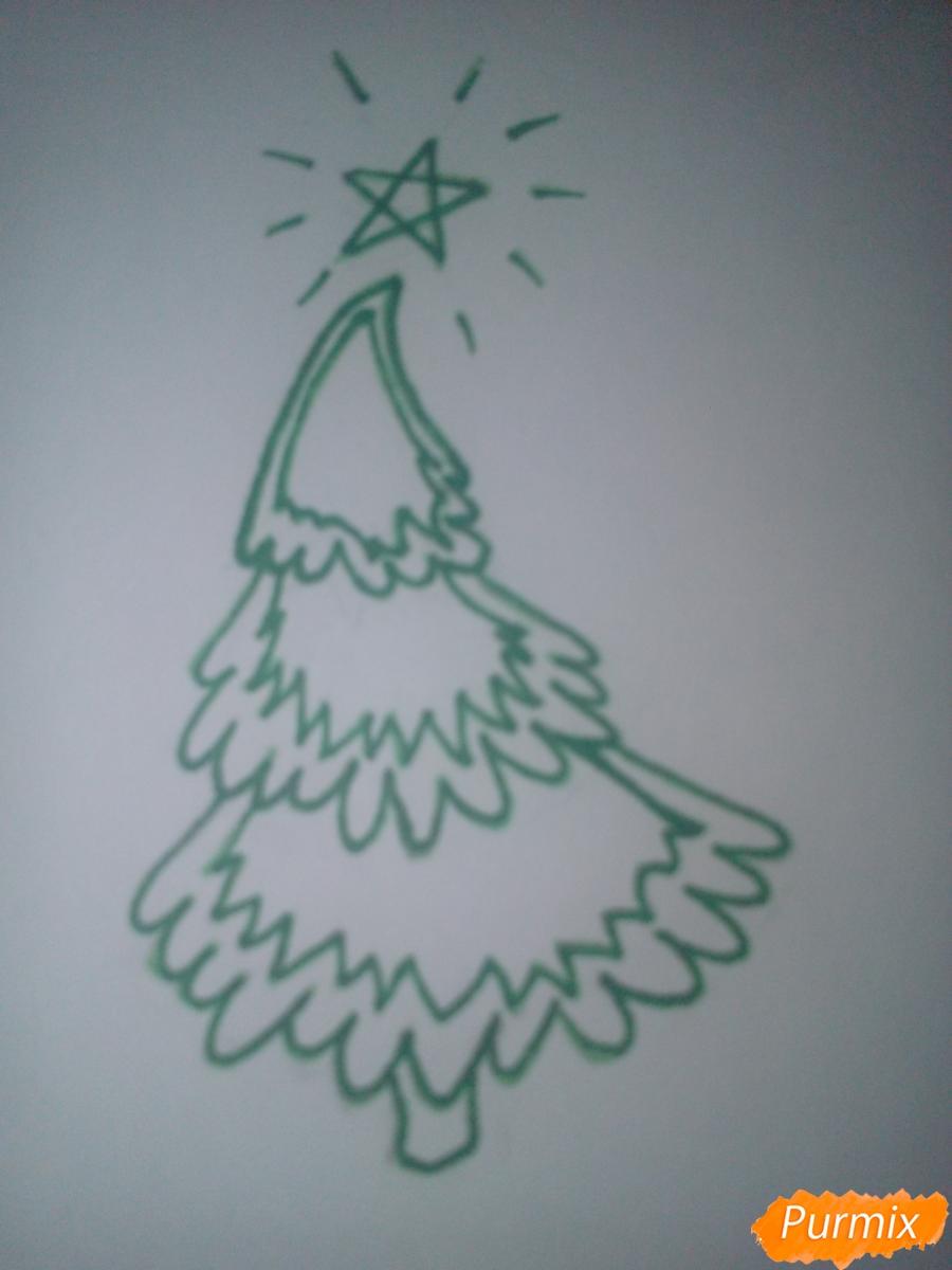 Как легко нарисовать елку зимой - шаг 4