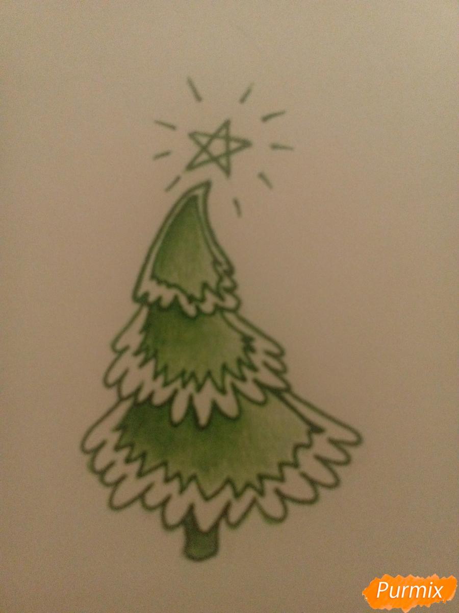 Как легко нарисовать елку зимой - шаг 5