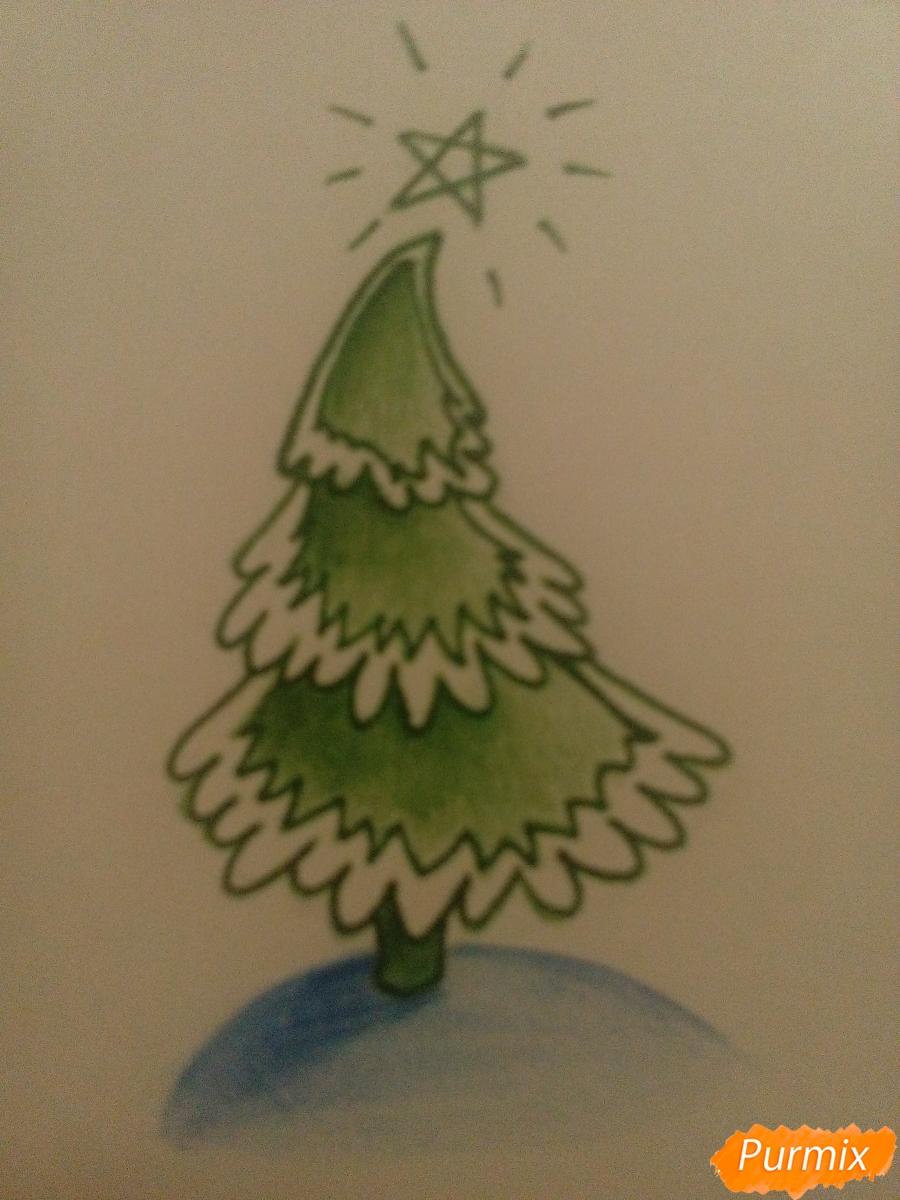 Как легко нарисовать елку зимой - шаг 6