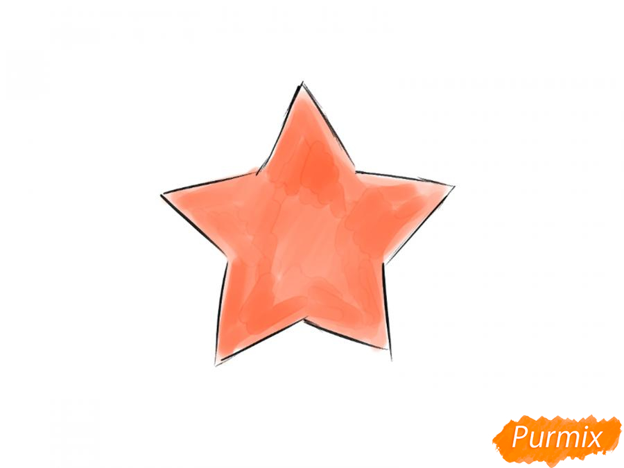 Как легко нарисовать звезду ко Дню победы детям - шаг 6