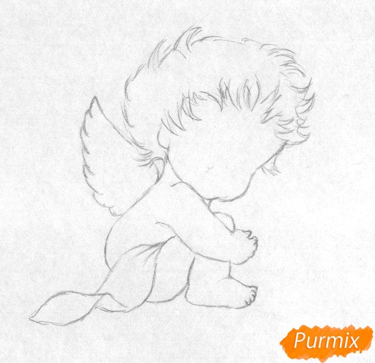 Рисуем ангелочка с цветком на День святого Валентина карандашами - шаг 1