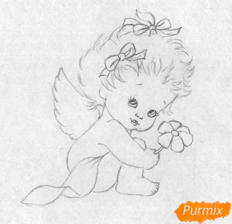 Рисуем ангелочка с цветком на День святого Валентина карандашами - шаг 2