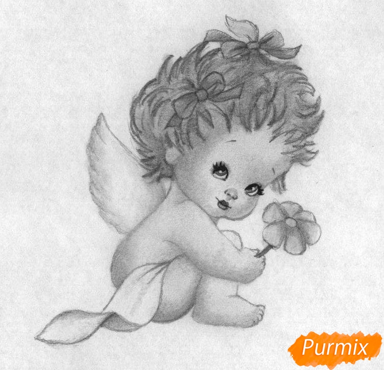 Рисуем ангелочка с цветком на День святого Валентина карандашами - шаг 4