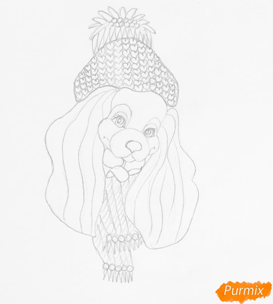 Рисуем английскую кокер спаниель в шапке и шарфике возле ёлочки - шаг 3