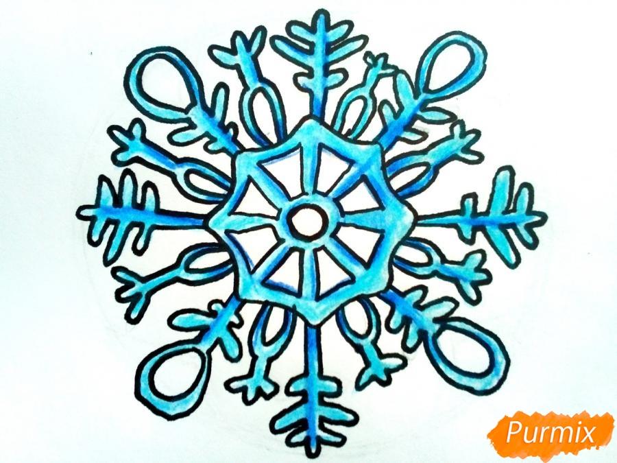 Рисуем большую снежинку - шаг 7