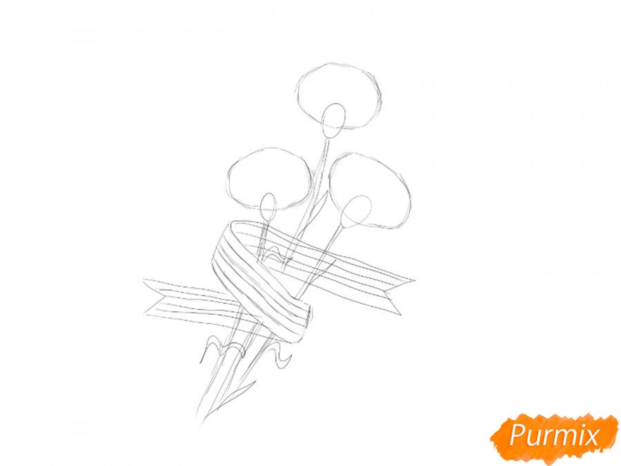 Рисуем букет гвоздик с Георгиевской лентой к 9 мая - шаг 3