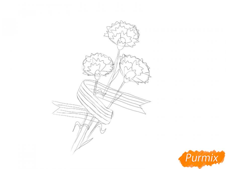 Рисуем букет гвоздик с Георгиевской лентой к 9 мая - шаг 4
