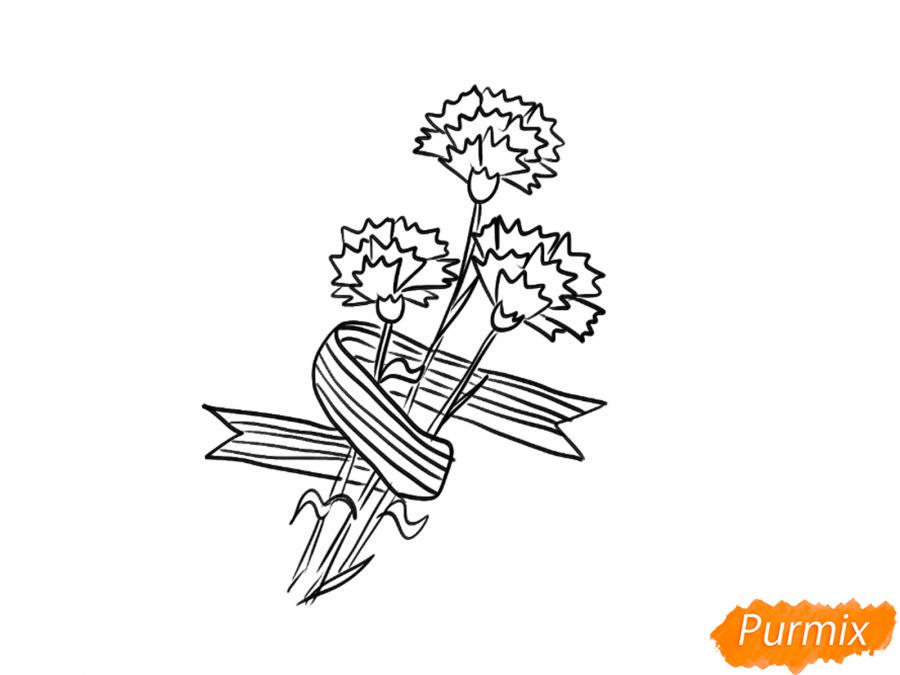 Рисуем букет гвоздик с Георгиевской лентой к 9 мая - шаг 5