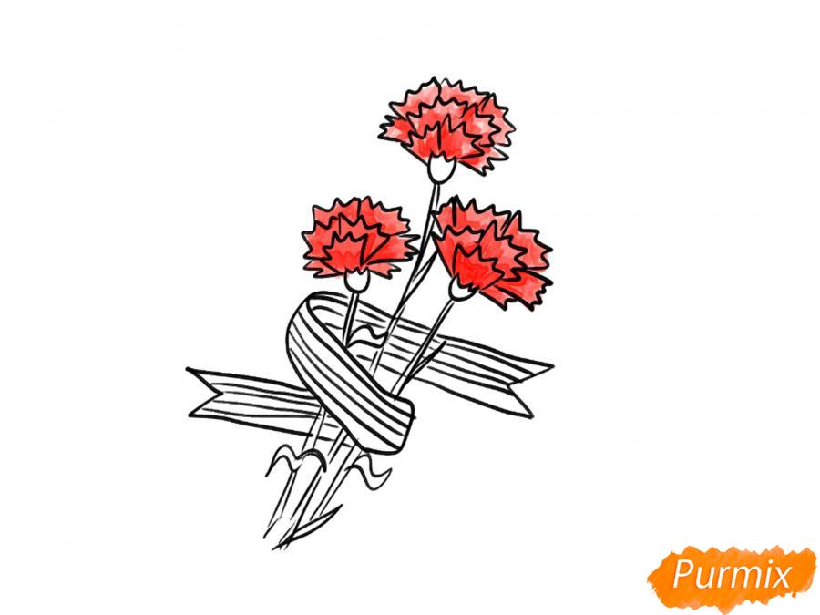 Рисуем букет гвоздик с Георгиевской лентой к 9 мая - шаг 6