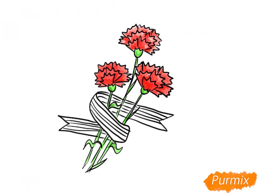 Рисуем букет гвоздик с Георгиевской лентой к 9 мая - шаг 7