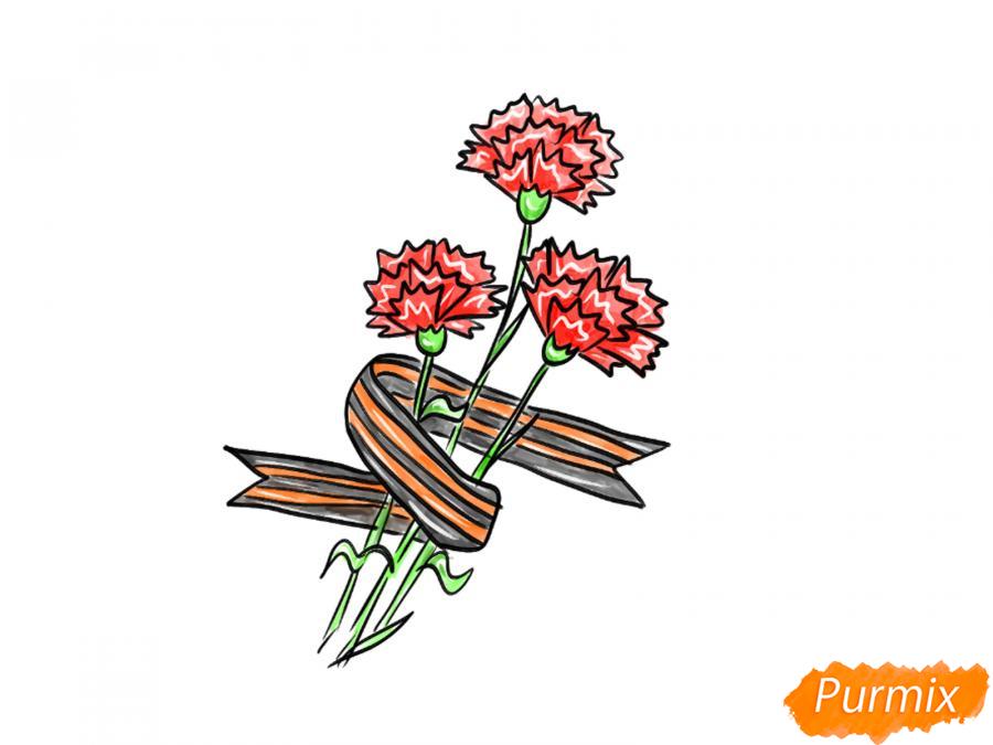 Рисуем букет гвоздик с Георгиевской лентой к 9 мая - шаг 8