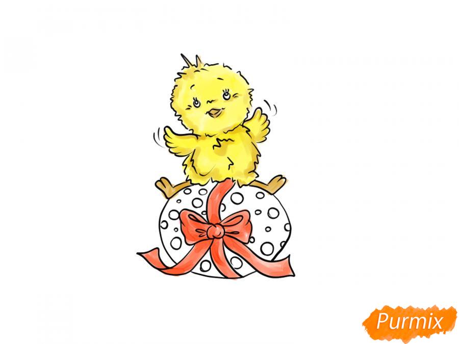 Рисуем цыпленка с пасхальным яйцом - шаг 7