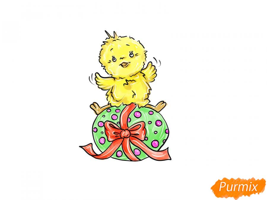 Рисуем цыпленка с пасхальным яйцом - шаг 8