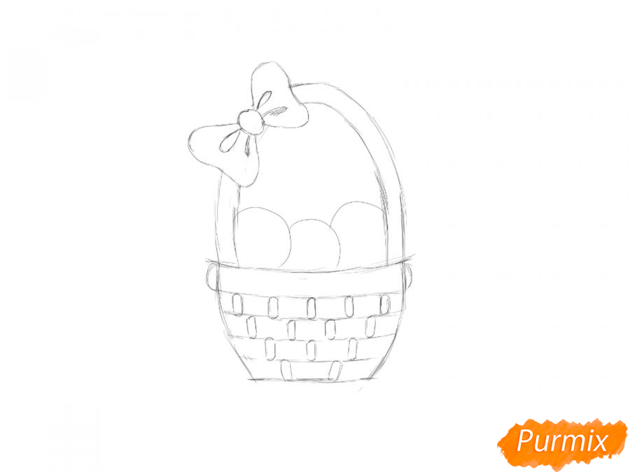 Рисуем цыплят в корзинке к Пасхе - шаг 2