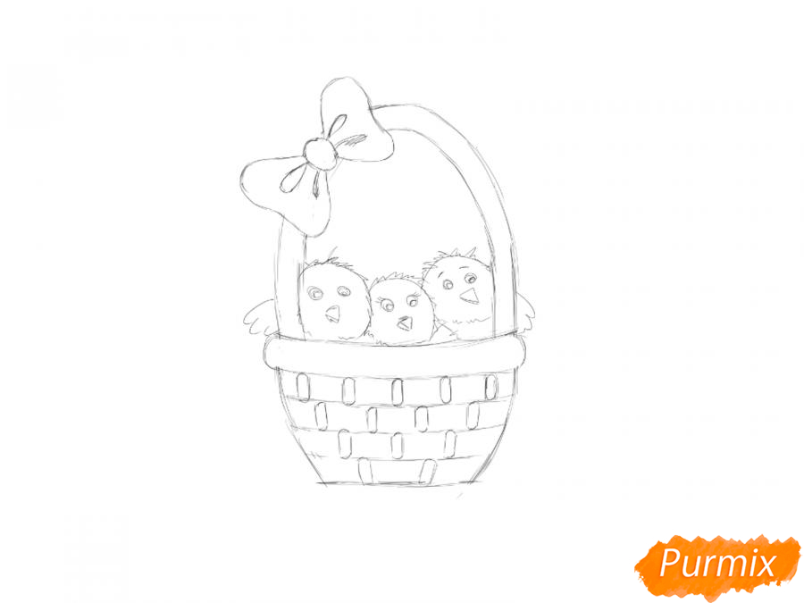 Рисуем цыплят в корзинке к Пасхе - шаг 3