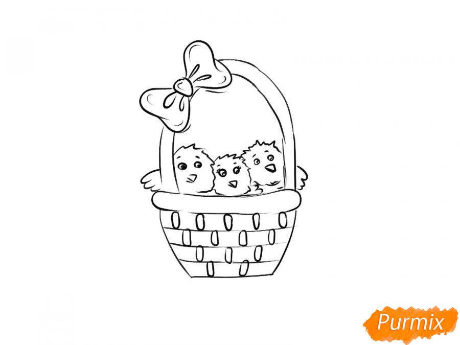 Рисуем цыплят в корзинке к Пасхе - шаг 4