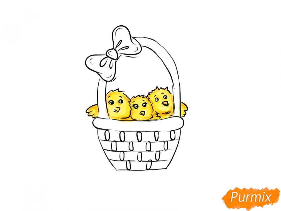 Рисуем цыплят в корзинке к Пасхе - шаг 5