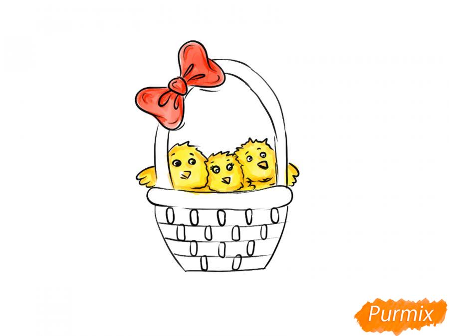 Рисуем цыплят в корзинке к Пасхе - шаг 6