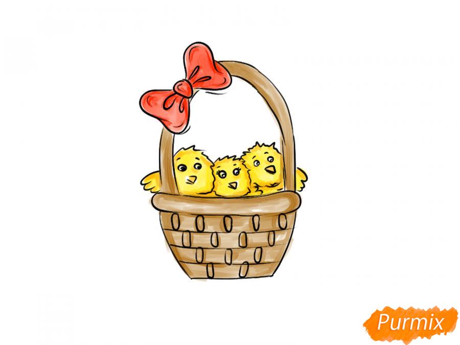 Рисуем цыплят в корзинке к Пасхе - шаг 7