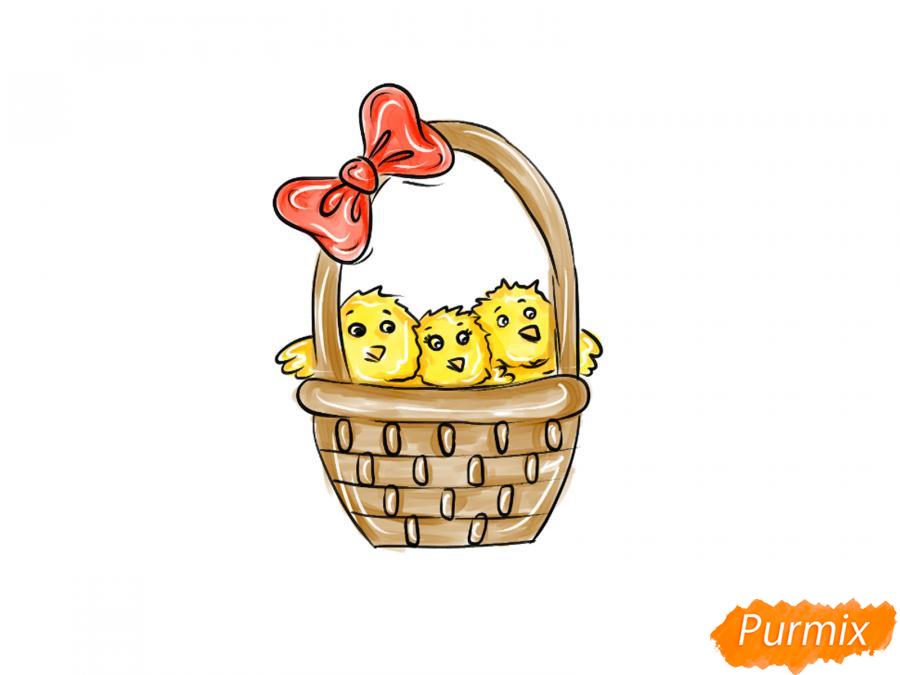 Рисуем цыплят в корзинке к Пасхе - шаг 8
