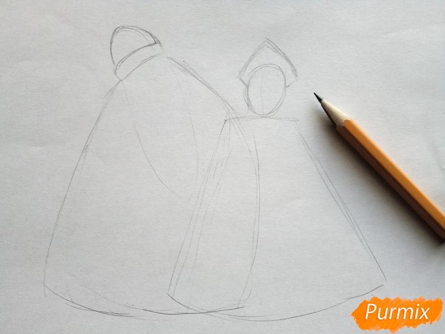 Рисуем Деда Мороза и Снегурочку карандашами - шаг 1