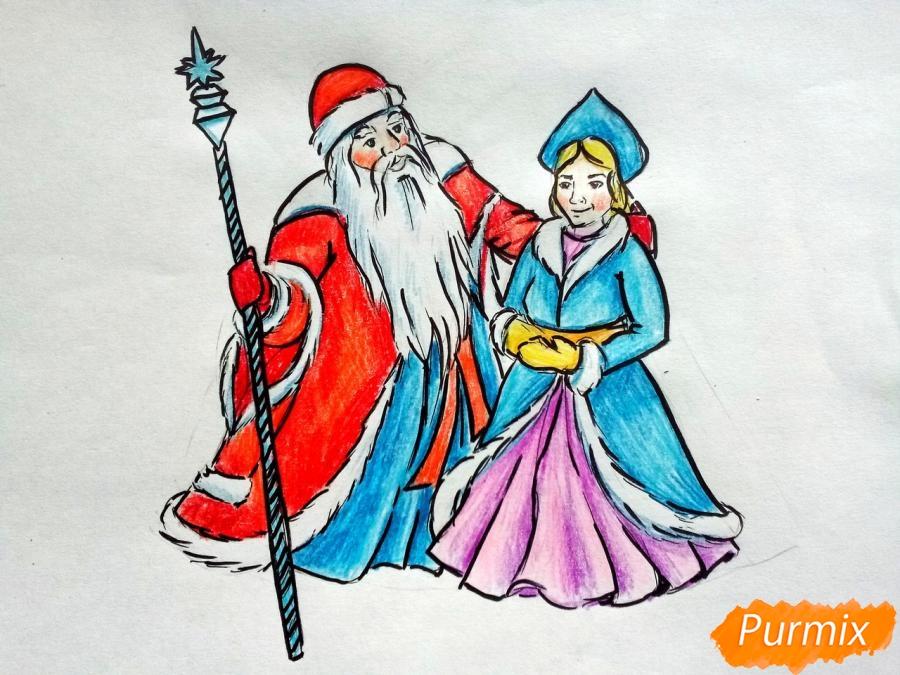 Рисуем Деда Мороза и Снегурочку карандашами - шаг 10