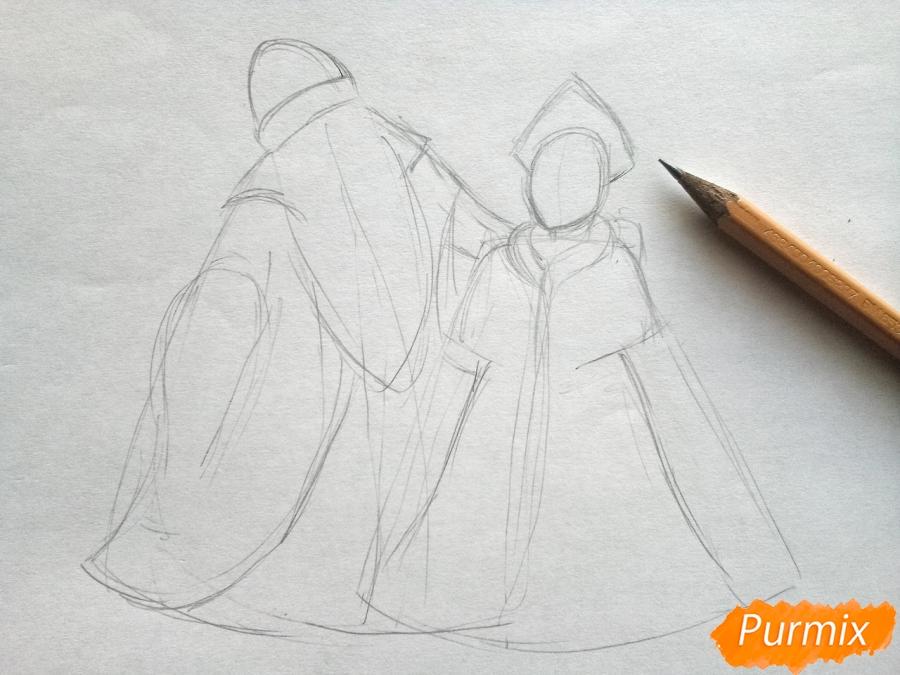 Рисуем Деда Мороза и Снегурочку карандашами - шаг 2