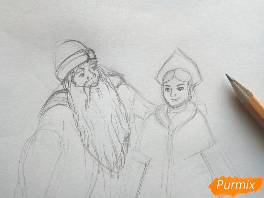 Рисуем Деда Мороза и Снегурочку карандашами - шаг 3
