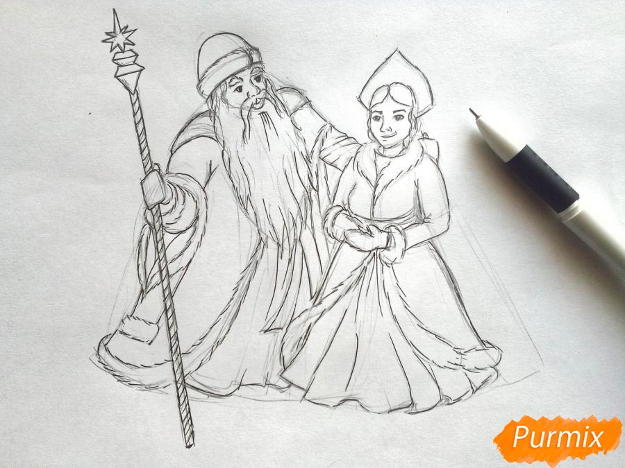 Рисуем Деда Мороза и Снегурочку карандашами - шаг 5