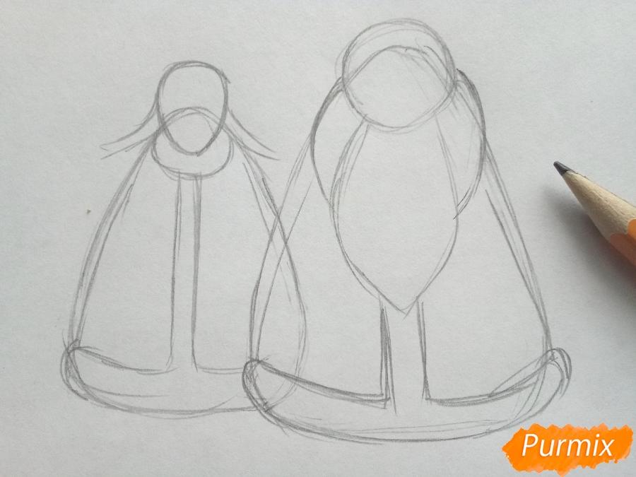 Рисуем Деда Мороза и Снегурочку просто для детей - шаг 2