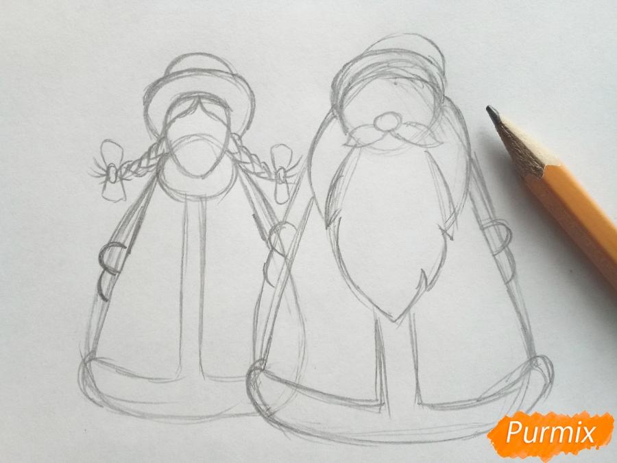 Рисуем Деда Мороза и Снегурочку просто для детей - шаг 3