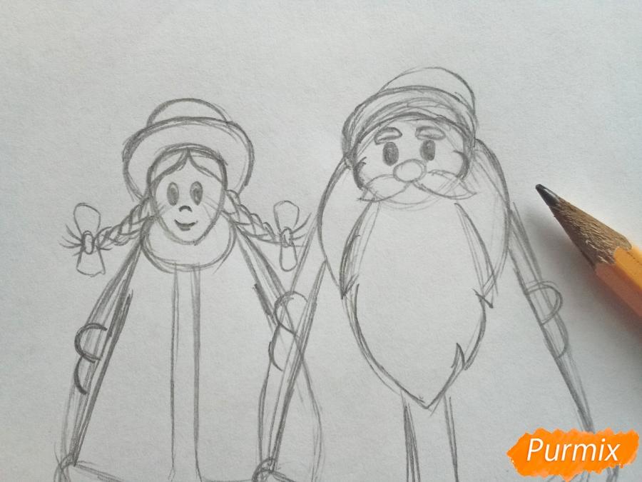 Рисуем Деда Мороза и Снегурочку просто для детей - шаг 4