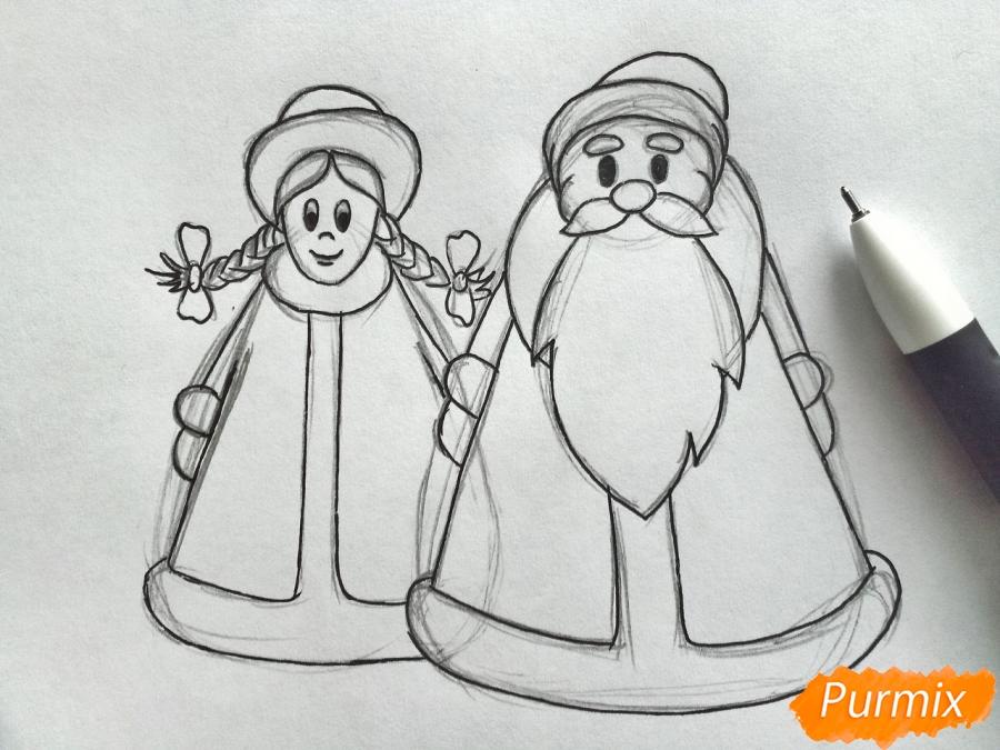 Рисуем Деда Мороза и Снегурочку просто для детей - шаг 5