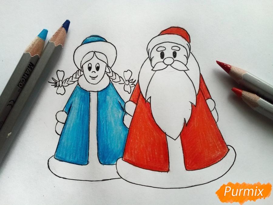 Рисуем Деда Мороза и Снегурочку просто для детей - шаг 6