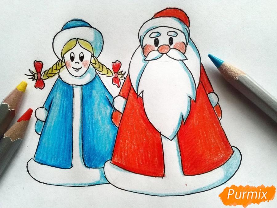 Рисуем Деда Мороза и Снегурочку просто для детей - шаг 7