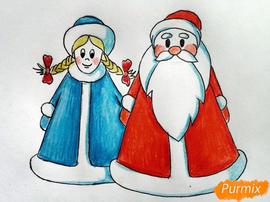 Рисуем Деда Мороза и Снегурочку просто для детей - шаг 8
