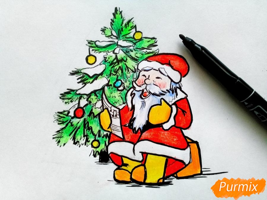 Рисуем Деда Мороза на Новый Год - шаг 10