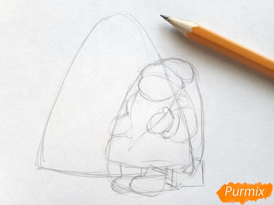 Рисуем Деда Мороза на Новый Год - шаг 2