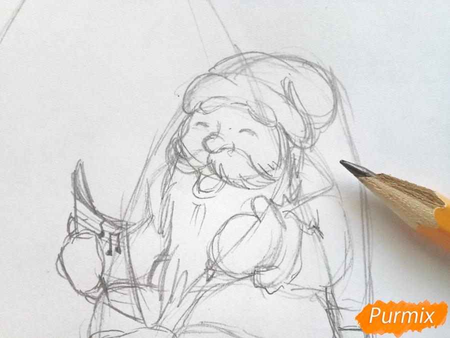 Рисуем Деда Мороза на Новый Год - шаг 3