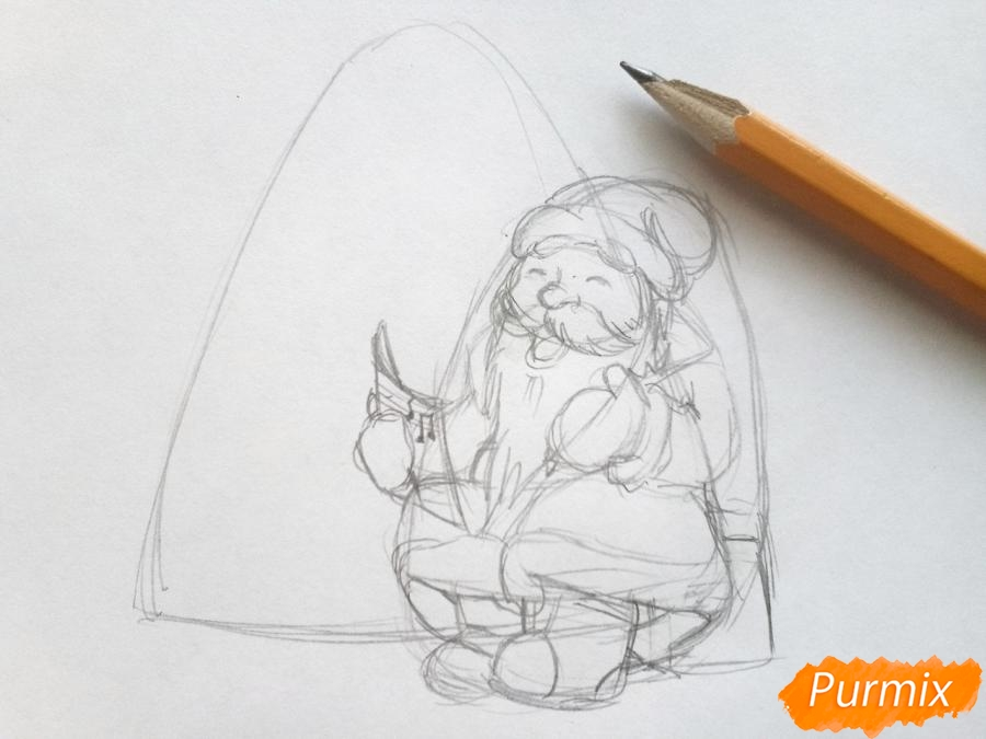 Рисуем Деда Мороза на Новый Год - шаг 4