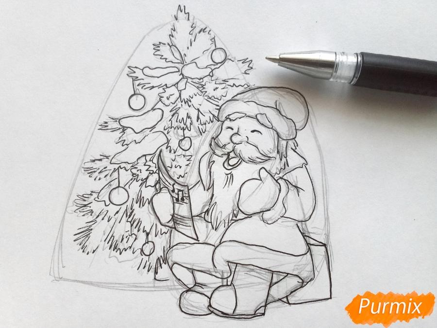 Рисуем Деда Мороза на Новый Год - шаг 6