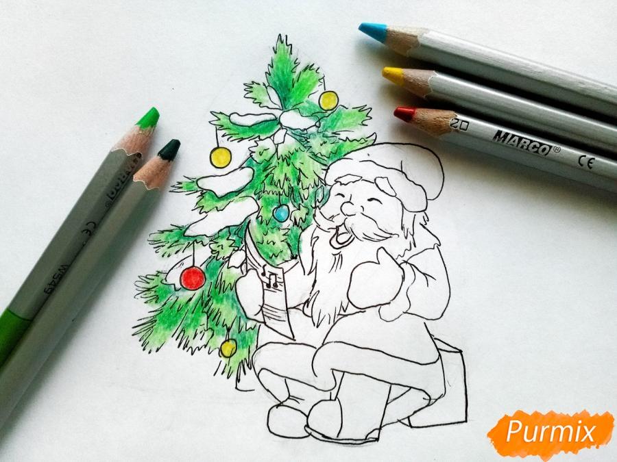 Рисуем Деда Мороза на Новый Год - шаг 7
