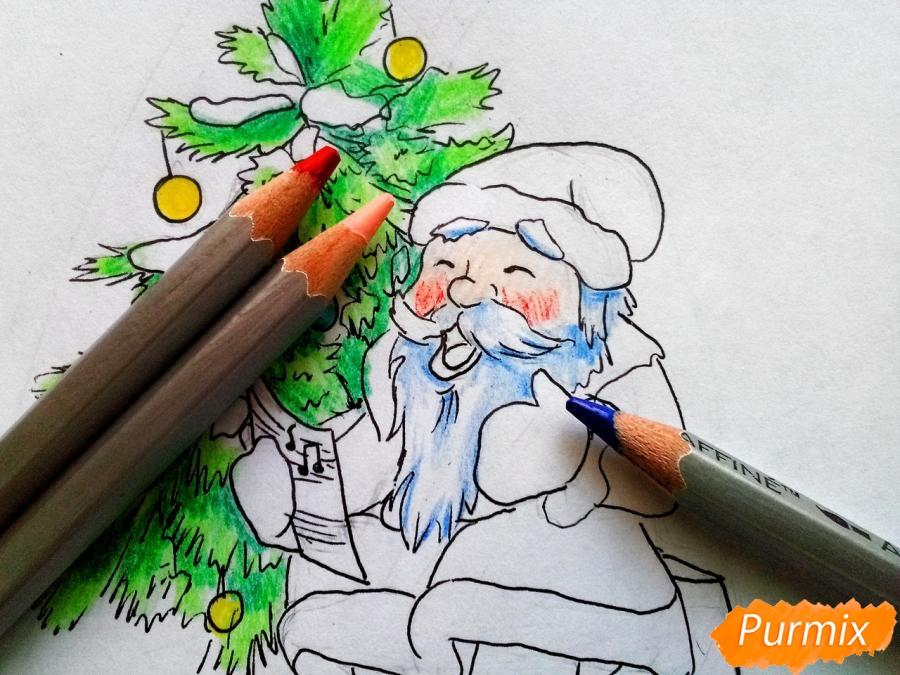 Рисуем Деда Мороза на Новый Год - шаг 8