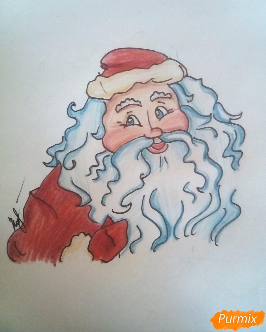 Рисуем Деда Мороза с пышной бородой цветными карандашами - шаг 8