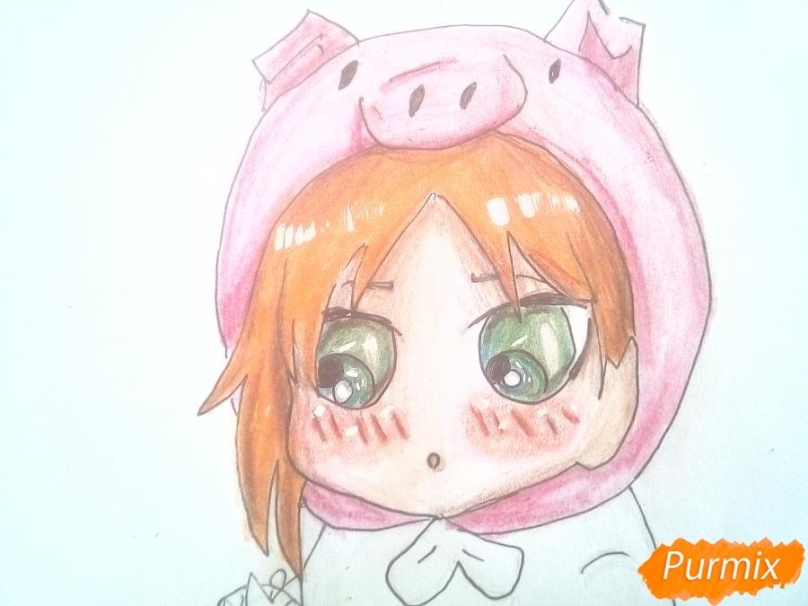 Рисуем девочку с гирляндой в костюме символа 2019 года-свиньи - шаг 12